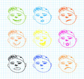 Vector hand drawn faces Stock Images