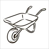 Vector hand drawn Farm wheelbarrow simple sketch illustration on white background stock illustration