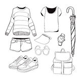 Vector of hand drawn fashion clothes and accessories Royalty Free Stock Images