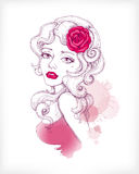 Vector hand drawn fashion illustration Royalty Free Stock Image