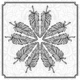 Vector hand drawn feathers mandala pattern Royalty Free Stock Photos