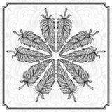 Vector hand drawn feathers mandala pattern Royalty Free Stock Photos