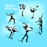 Vector hand drawn figure skating sketch. Set  on white backdrop. Ink drawing. Sportsman silhouette illustration. Good for sport logo, magazines, journal Stock Photography