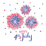 Vector hand drawn fireworks for 4th of july. American independence day card. Vector hand drawn fireworks for 4th of july. American independence day card on Royalty Free Stock Image