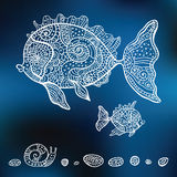 Vector hand drawn fishes. Decorative Fishes. Hand drawn illustration.  Vector set Royalty Free Stock Photography