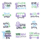 Vector hand drawn fitness motivational sport gym crossfit trainings motivation text lettering Stock Photos