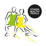 Vector hand drawn fitness people sketch. Stock Photography