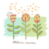 Vector Hand drawn floral background Stock Photos