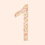 Vector hand drawn Floral number one. Vector hand drawn Floral number with vintage amazing flowers. Number 1 Perfect for backgrounds of flyers, posters Stock Photos