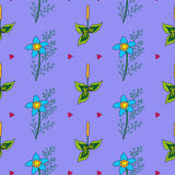 Vector hand drawn floral pattern. Vector hand drawn assumed flower pattern Stock Image
