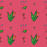 Vector hand drawn floral pattern. Vector hand drawn assumed flower pattern Royalty Free Stock Photos