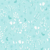 Vector hand drawn floral seamless eastern pattern with branches, tulips, lilacs, mimosas and silhouettes of rabbit Stock Photo