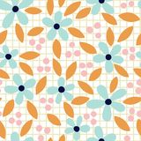 Vector hand drawn floral seamless pattern on grid background. royalty free illustration