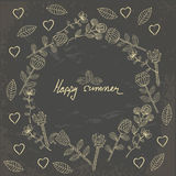 Vector hand drawn floral template card Stock Images