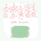 Vector hand drawn floral template card Stock Image