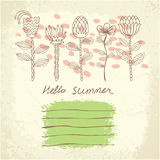 Vector hand drawn floral template card Stock Photo