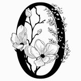 Vector Hand Drawn floral Zero monogram and logo. Vector Hand Drawn floral Zerro monogram or logo. Number 0 with Flowers and Branches. Cherry Blossom. Floral Royalty Free Stock Photo
