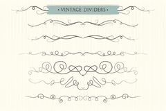 Vector hand drawn flourishes, dividers, graphic lovely design el. Ement set. Cute vintage borders. Wedding invitation cards, page decoration. Calligraphy elegant Stock Photo
