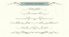 Vector hand drawn flourishes, dividers, graphic lovely design el stock illustration