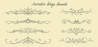 Vector hand drawn flourishes, dividers, graphic lovely design el. Ement set. Cute vintage borders. Wedding invitation cards, page decoration. Calligraphy elegant Stock Photos