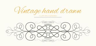 Vector hand drawn flourishes, text divider, graphic design eleme. Nt. Cute designer, vintage border. Wedding invitation card, page decoration. Calligraphy Royalty Free Stock Image