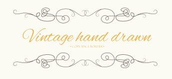 Vector hand drawn flourishes, text divider, graphic design eleme. Nt. Cute designer vintage border. Wedding invitation card, page decoration. Calligraphy elegant Royalty Free Stock Photos