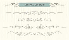 Vector hand drawn flourishes, text divider, graphic design eleme. Nt set. Designer art vintage border Wedding invitation card page decoration. Calligraphy Stock Photography