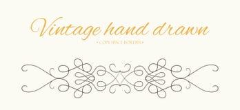 Vector hand drawn flourishes, text divider graphic design element. Designer vintage border. Wedding invitation card page stock illustration