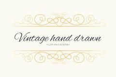 Vector hand drawn flourishes, text divider, graphic design eleme. Nt. Designer vintage golden line border frame. Wedding invitation visit card, page decoration Stock Photos