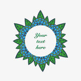 Vector hand drawn flower frame. Colorful hand drawn circle flower frame Royalty Free Stock Photography