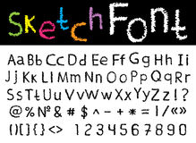Vector hand drawn font: alphabet and numbers. Vector illustration with hand drawn sketch font: alphabet and numbers Royalty Free Stock Photos