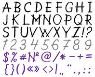 Vector hand drawn font: alphabet and numbers Stock Images