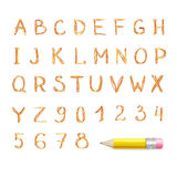 Vector Hand drawn font. Doodle style on white Stock Images