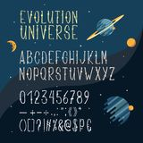 Vector hand drawn font, Latin alphabet, capital letters. With numbers and symbols isolated on space background with planets and stars. Cartoon serif typeface Royalty Free Stock Photo