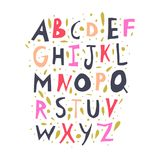 Vector cute applique cut out lettering alphabet. Vector hand drawn font, letters set. ABC, alphabet. Clipart, isolated vector letters and decor elements vector illustration
