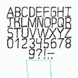 Vector hand drawn font. Sketch style alphabet. Stock Photo