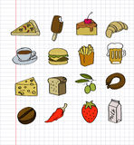 Vector hand drawn food Royalty Free Stock Photography