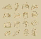 Vector hand drawn food Stock Photo