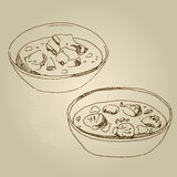 Vector hand drawn food sketch cold appetizers, soup Royalty Free Stock Image
