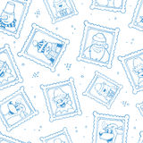 Vector hand drawn frames with portrait of christmas cartoon characters stock illustration