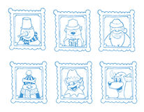 Vector hand drawn frames with portrait of christmas cartoon characters. Snowman, polar bear, deer, elf, penguin and santa. Pictures isolate on white background Royalty Free Stock Images