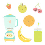 Vector hand drawn  fruits, blender and Royalty Free Stock Photography