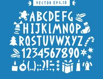 Vector hand drawn funny alphabet. Hand drawn latin letters, numb. Ers and christmas icons. Christmas lettering royalty free illustration