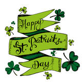Vector hand drawn gdreeting card with clovers, shamrocks. For St. Patricks Day decoration. Hand written text `Happy St. Patricks Day Royalty Free Stock Photos