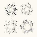 Vector hand drawn geometric radial line sunburst, the rays of the sun or the stars Shine, flash. Fireworks retro, vintage style. stock illustration