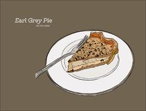 Vector hand drawn graphic illustration of custard earl grey tea. Pie Royalty Free Stock Images