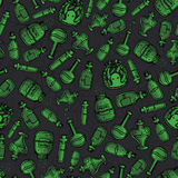 Vector hand drawn green witchy bottles seamless pattern. Black outline of potions, elixirs and vials Stock Photos