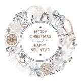 Vector hand drawn greeting card. Merry Christmas and Happy New Year. Winter seasoning. Vintage engraved art. Royalty Free Stock Photography