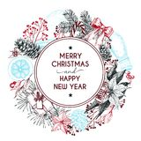 Vector hand drawn greeting card. Merry Christmas and Happy New Year. Winter seasoning. Stock Photography