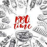 Vector hand drawn grill and barbecue Illustration. Stock Photo
